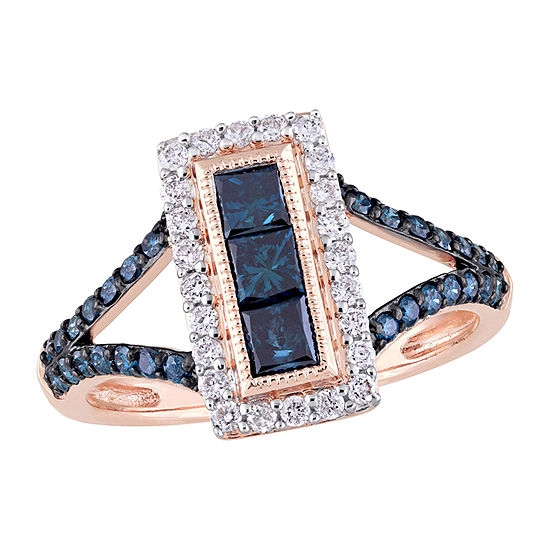 Womens 1/4 CT. T.W. Genuine Blue Diamond 10K Rose Gold 3-Stone Cocktail Ring