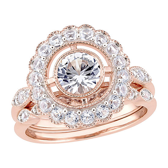 Womens Lab Created White Sapphire 10K Rose Gold Bridal Set