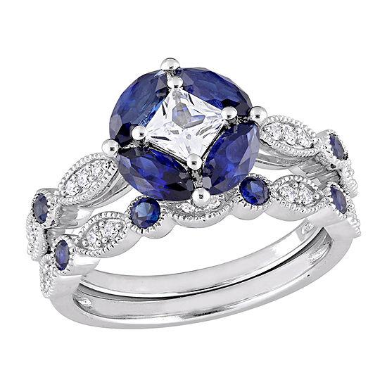 Womens 1/6 CT. T.W. Lab Created White Sapphire 10K White Gold Bridal Set