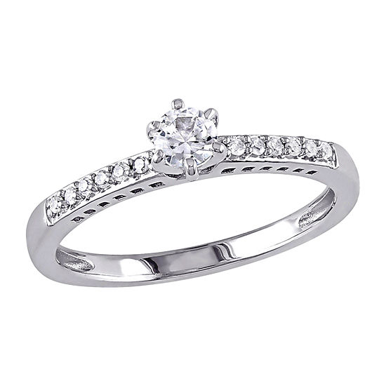 Womens Diamond Accent Lab Created White Sapphire Sterling Silver Engagement Ring