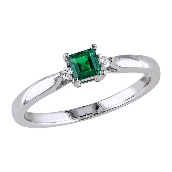 Modern Bride Gemstone Womens Diamond Accent Lab Created Green Emerald Sterling Silver Engagement Ring