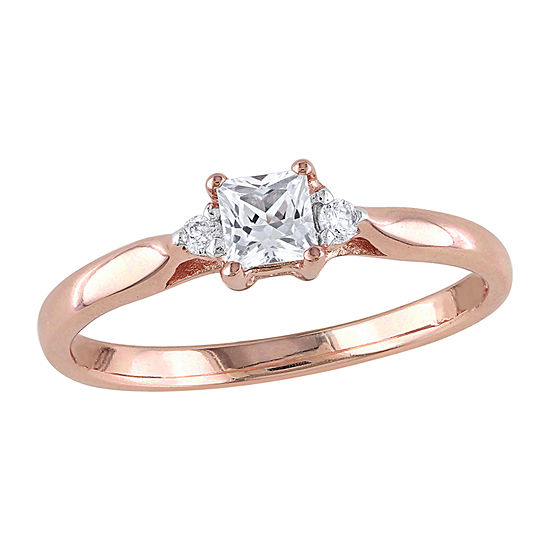 Modern Bride Gemstone Womens Diamond Accent Lab Created White Sapphire 18K Gold Over Silver Engagement Ring