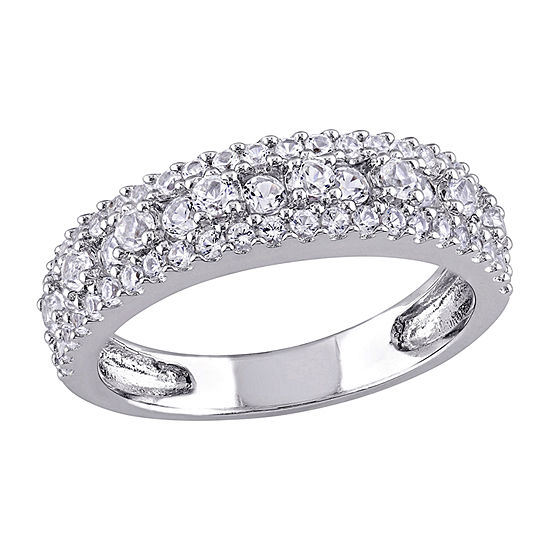 Womens 2.5MM Lab Created White Sapphire Sterling Silver Band