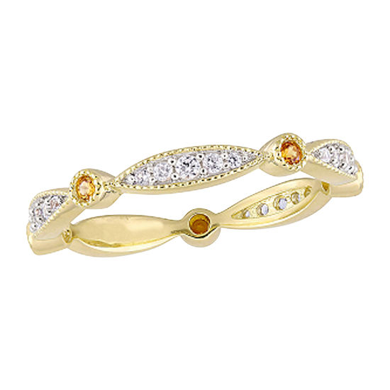 2.5MM Lab Created White Sapphire 18K Gold Over Silver Band