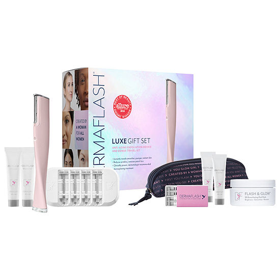 DERMAFLASH LUXE Anti-Aging Dermaplaning Exfoliation Device + Travel Gift Set