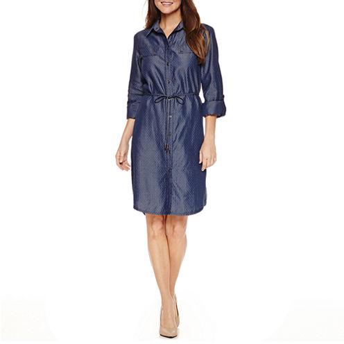 Ronni Nicole 3/4 Sleeve Shirt Dress