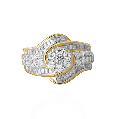 Diamond Blossom Womens 1 1/4 CT. T.W. Genuine White Diamond 10K Gold Cocktail Ring