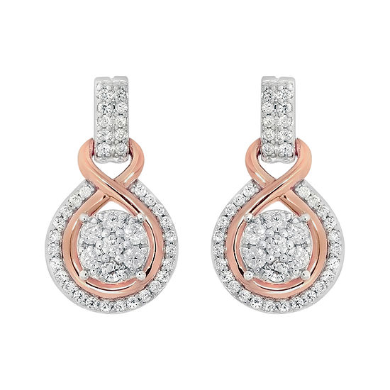 Diamond Blossom Genuine White Diamond 10K Gold Drop Earrings
