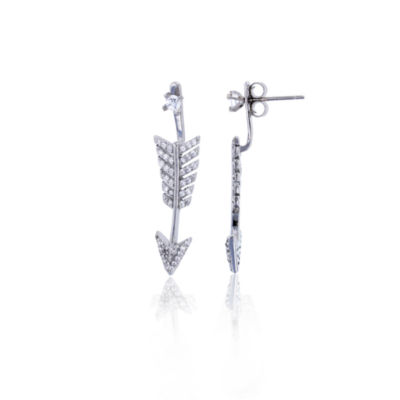 Sterling Silver Cubic Zirconia Arrow Stud Earring