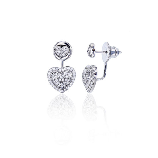 Sterling Silver Cubic Zirconia Heart Double Stud Earring