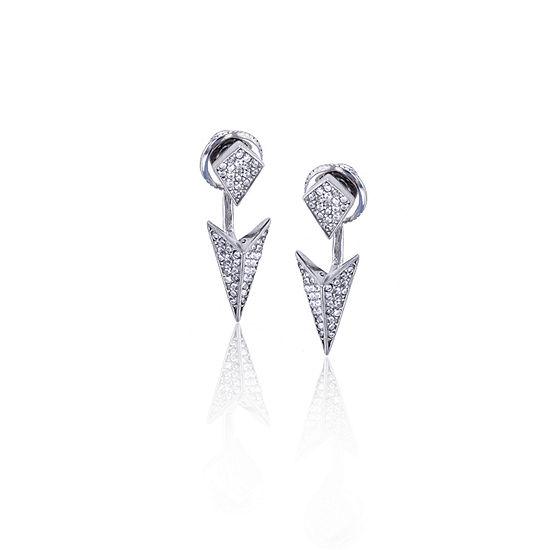 Sterling Silver Cubic Zirconia Spike Double Stud Earring