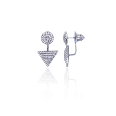 Sterling Silver Cubic Zirconia Round Triangle Double Stud Earring
