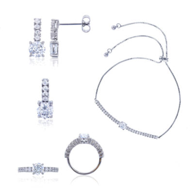 Sterling Silver 6mm Cubic Zirconia 4-pc. Jewelry Set