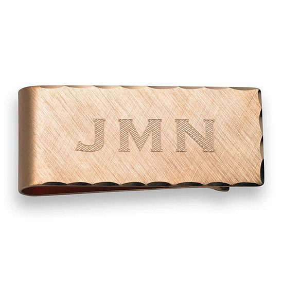 Personalized Scallop Edge 14k Rose Gold Plated Money Clip