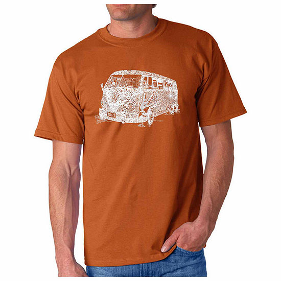 "Los Angeles Pop Art Short Sleeve ""70s"" Word Art T-Shirt- Men's Big and Tall"""