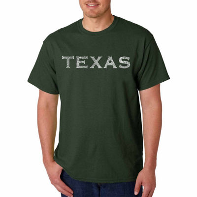 "Los Angeles Pop Art Short Sleeve ""Great Cities ofTexas"" Word Art T-Shirt- Men's Big and Tall"""