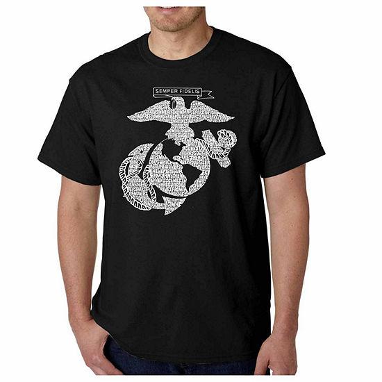 Los Angeles Pop Art Lyrics To The Marine Hymn Word Art T Shirt Mens Big And Tall