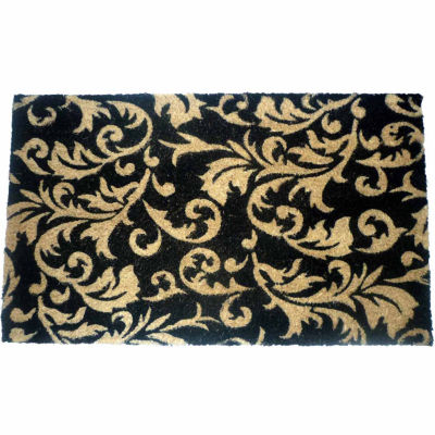 "Gold Scroll Leaves Rectangle Doormat - 18""X30"""
