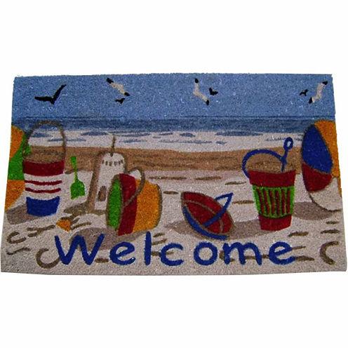 """Beach Welcome Rectangular Doormat - 18""""X30"""""""
