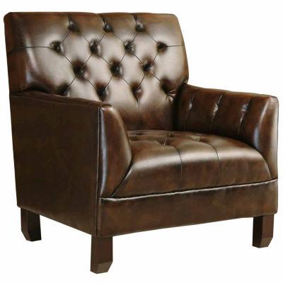 Allison Faux Leather Sharkfin-Arm Chair