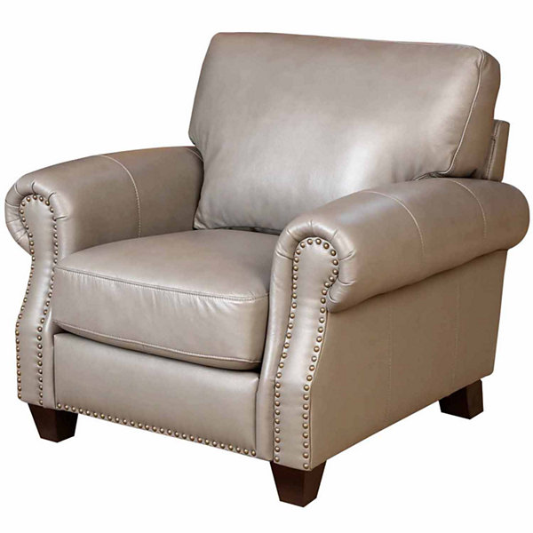 Arianna Leather Roll-Arm Chair