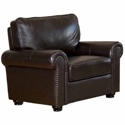 Olivia Leather Roll Arm Chair