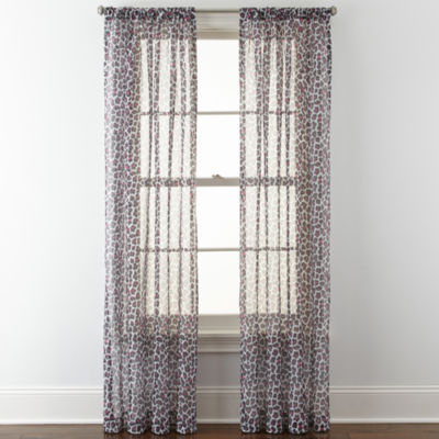 Home Expressions Purr Sheer Rod-Pocket Single Curtain Panel