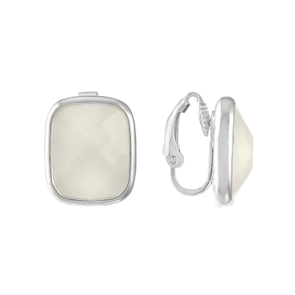 Liz Claiborne White Clip On Earrings