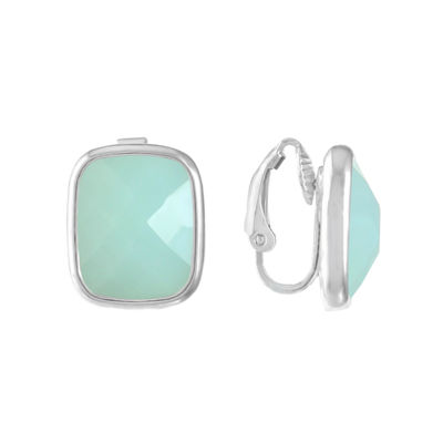 Liz Claiborne Blue Square Clip On Earrings