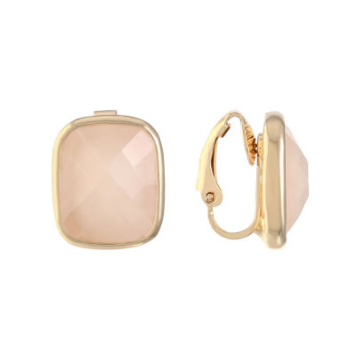 Liz Claiborne Pink Square Clip On Earrings