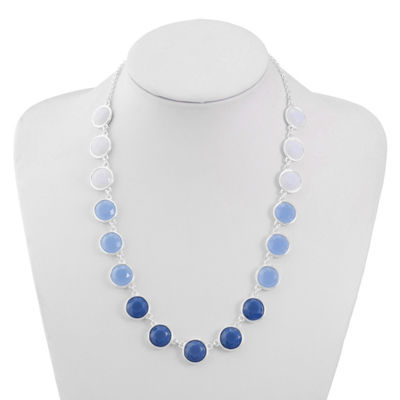 Liz Claiborne Womens Blue Round Collar Necklace