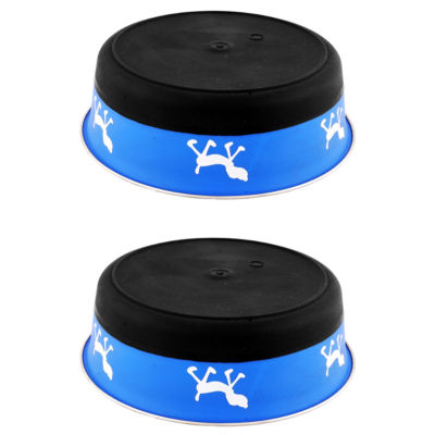 Color Splash Designer Bonded Fusion Pet Bowl in Blue and Black - Medium - Set of 2