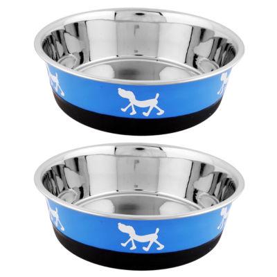 Color Splash Designer Bonded Fusion Pet Bowl in Blue and Black - Large - Set of 2