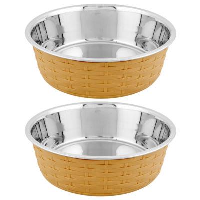 Iconic Pet Color Splash Designer Rattan Fusion Bowl - Set of 2