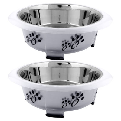 Iconic Pet Color Splash Designer Oval Fusion Bowl - Set of 2