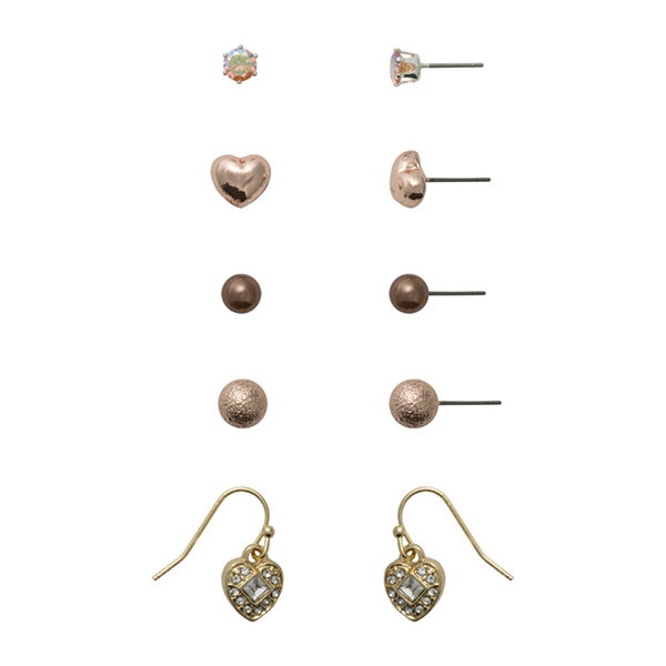 Sensitive Ears 5 Pair Brass Earring Sets