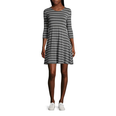 Arizona 3/4 Sleeve Stripe Swing Dresses-Juniors
