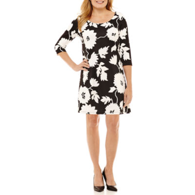 Robbie Bee 3/4 Sleeve Floral Fit & Flare Dress-Petites