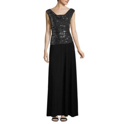 R & M Richards Sleeveless Embellished Evening Gown-Petites
