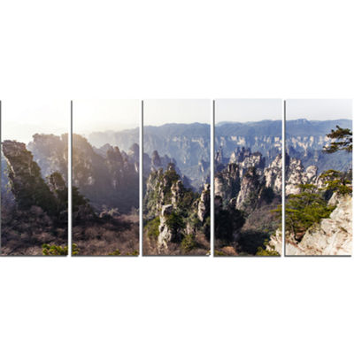 Designart Zhangjiajie National Forest Park Landscape Canvas Art Print - 5 Panels