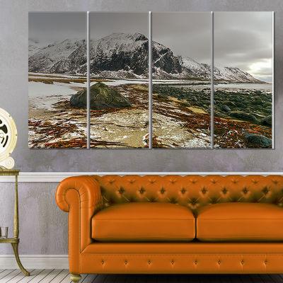 Designart Eggum Lofoten Islands Norway LandscapeCanvas Art Print - 4 Panels