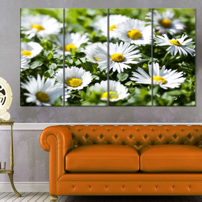 Spring Background With White Flowers Floral CanvasArt Print - 4 Panels