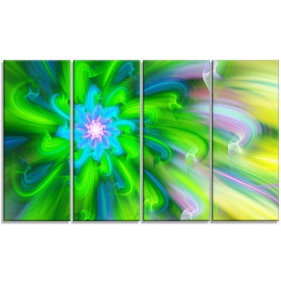 Dance Of Green Flower Petals Floral Canvas Art Print - 4 Panels