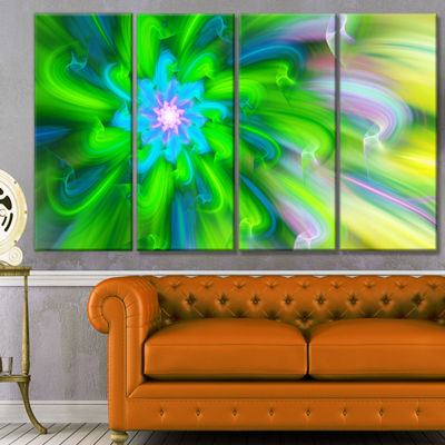 Designart Dance Of Green Flower Petals Floral Canvas Art Print - 4 Panels