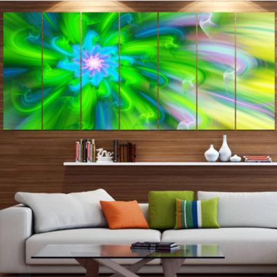 Dance Of Green Flower Petals Floral Canvas Art Print - 7 Panels