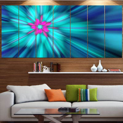 Design Art Rotating Blue Fireworks Large Floral Canvas Art Print - 5 Panels