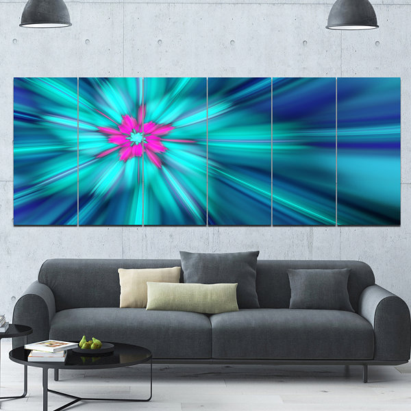 Designart Rotating Blue Fireworks Floral Canvas Art Print -6 Panels