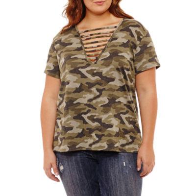 Arizona Short Sleeve V Neck Tie Dye T-Shirt-Womens Juniors Plus