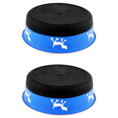 Color Splash Designer Bonded Fusion Pet Bowl in Blue and Black - Small - Set of 2