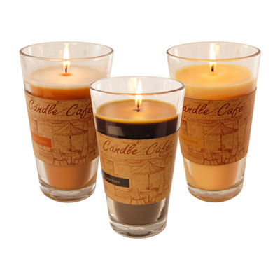 Scented Candles- Coffee Café Collection in 11oz Glass Jars (Set of 3)